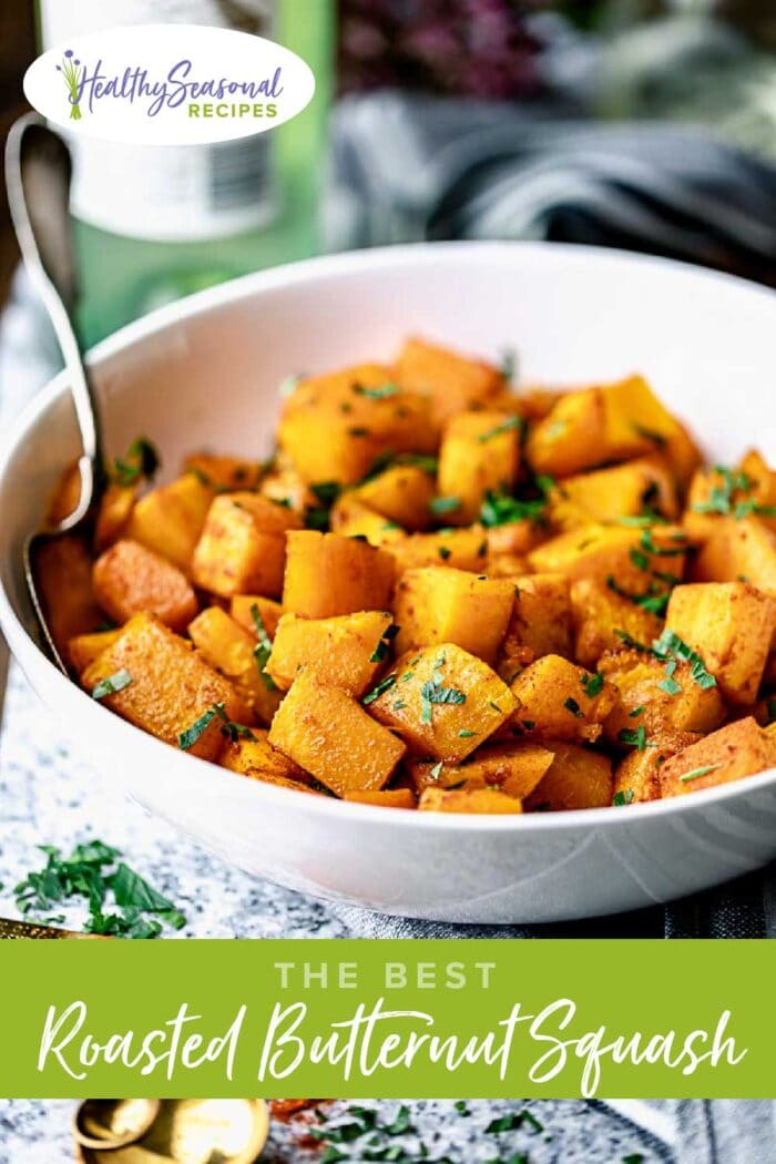 butternut squash in bowl with parsley on top