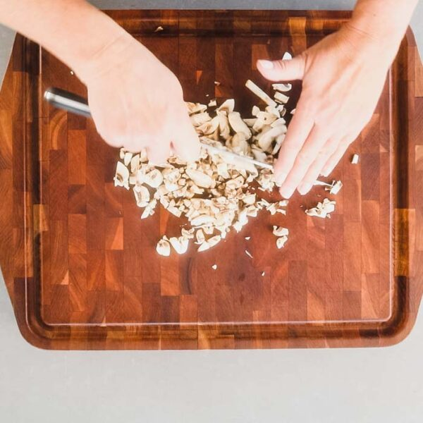 Chop mushrooms into small pieces