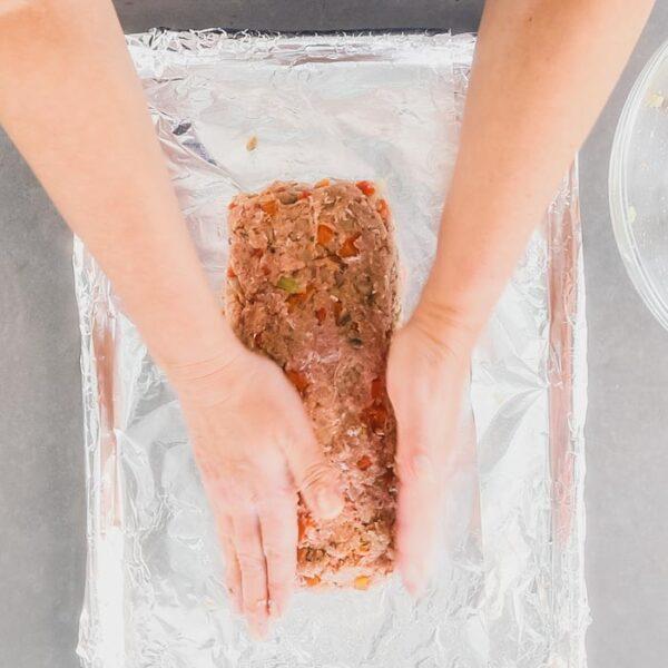 Shape the turkey mixture into loaf shape.
