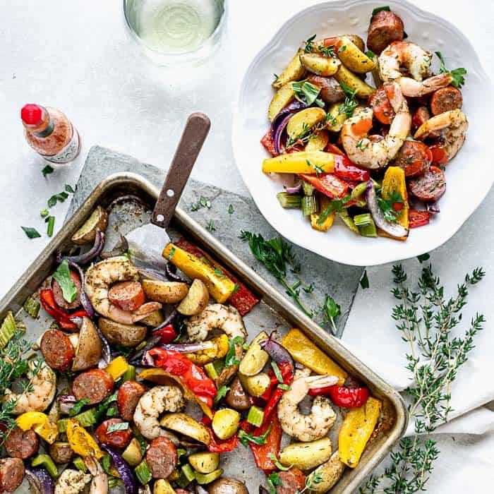 Shrimp and sausage sheet pan dinner