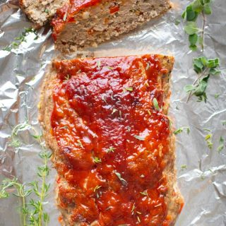 A close up overhead of turkey meatloaf