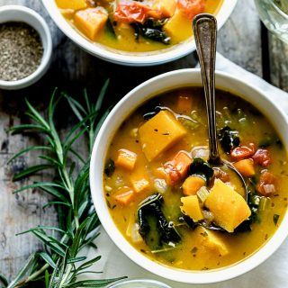 Vegan Vegetable soup in two white bowls