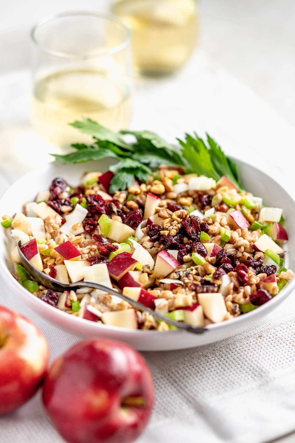 farro salad in a bowl from the side