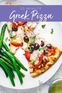 Greek pizza on a plate