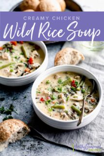 two bowls of soup with bread and text overlay