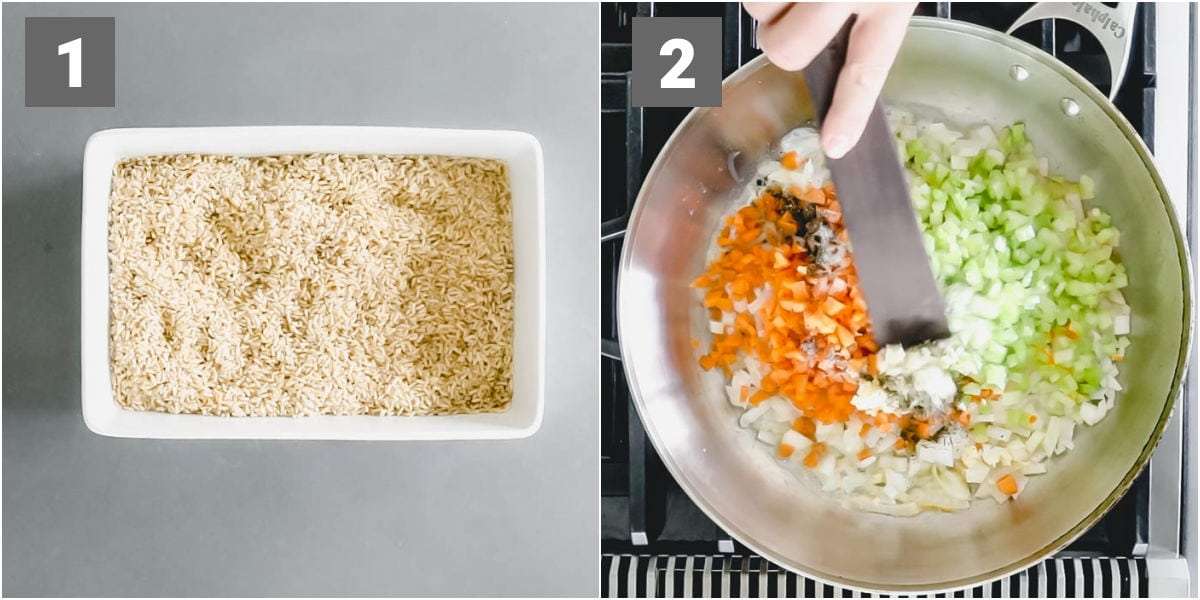 layer the raw instant rice in the bottom of the casserole. Saute the veggies