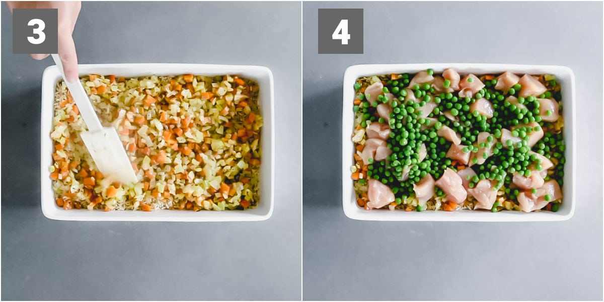 add sauteed veggies on top of the rice. Top them with chicken and peas