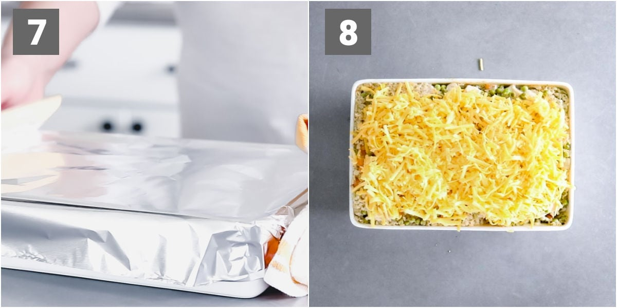 baking the casserole dish with foil and topping with cheesev