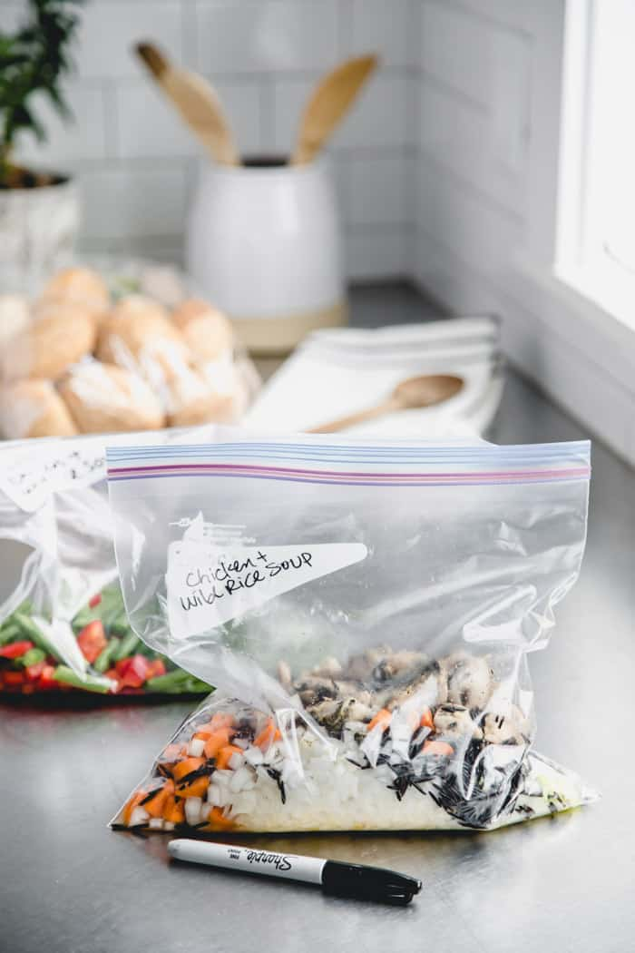 Chicken and Wild Rice Soup Packets on the counter