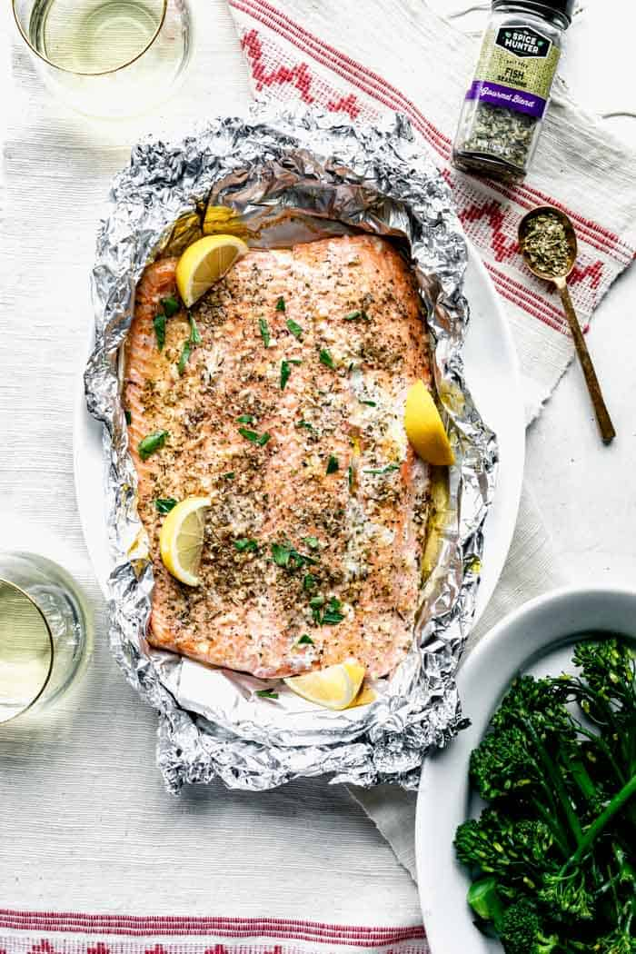 overhead look at the packet of foil with salmon inside