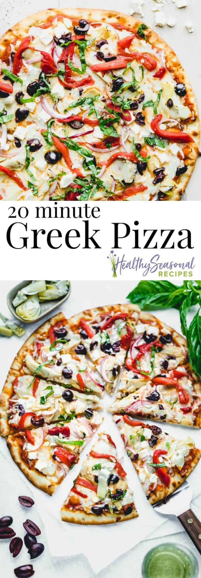 Here\'s an easy homemade Greek Pizza recipe that comes together in only 20 minutes thanks to a few convenience items and pantry staples! It\'s loaded with artichokes, roasted red peppers, feta and black olives. #greekpizza #pizzarecipe #vegetariandinner #20minutemeals