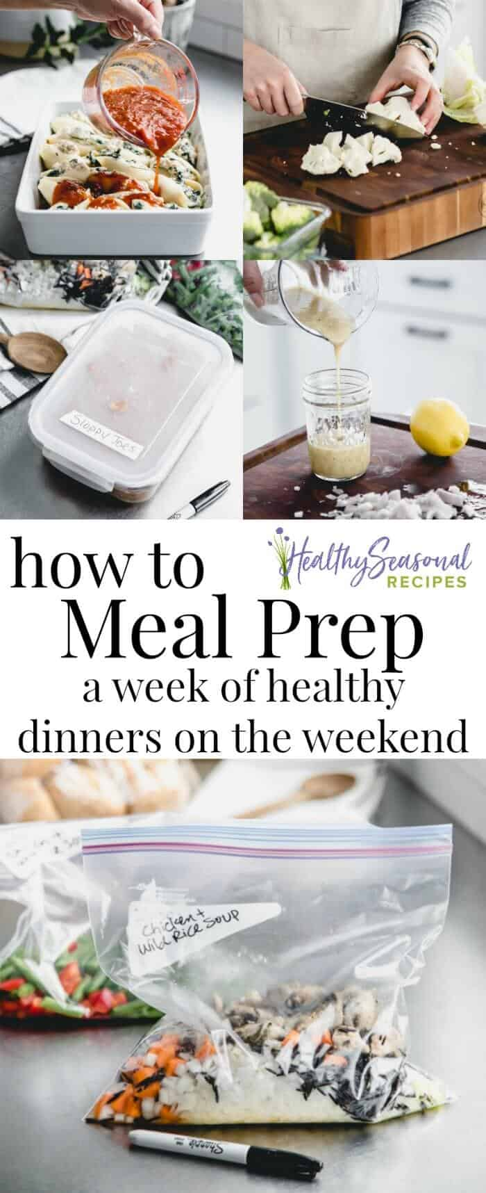 How To Meal Prep a Week of Healthy Meals on the Weekend, plus a downloadable shopping list. This Meal Prep Menu is complete with vegetarian stuffed shells, easy Greek pizza, a freezer slow cooker soup and more. The whole family will love these simple and healthy dinners. #mealpreprecipes