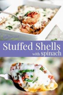 stuffed shells collage with text overlay
