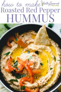Roasted Red Pepper Hummus closeup with text