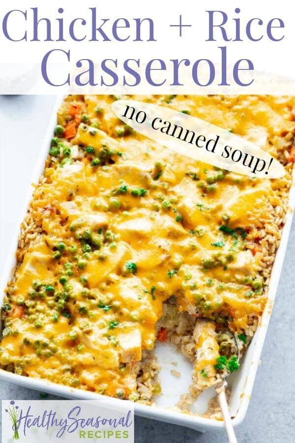 A close-up overhead of chicken and rice casserole with text overlay