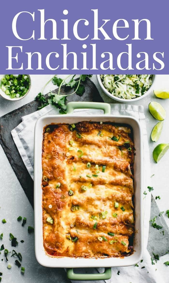 Easy Chicken Enchiladas with Red Sauce and corn tortillas only take 15 minutes of prep work to assemble the casserole. I use rotisserie chicken and sour cream to make the filling super simple and creamy. #chickenenchiladas