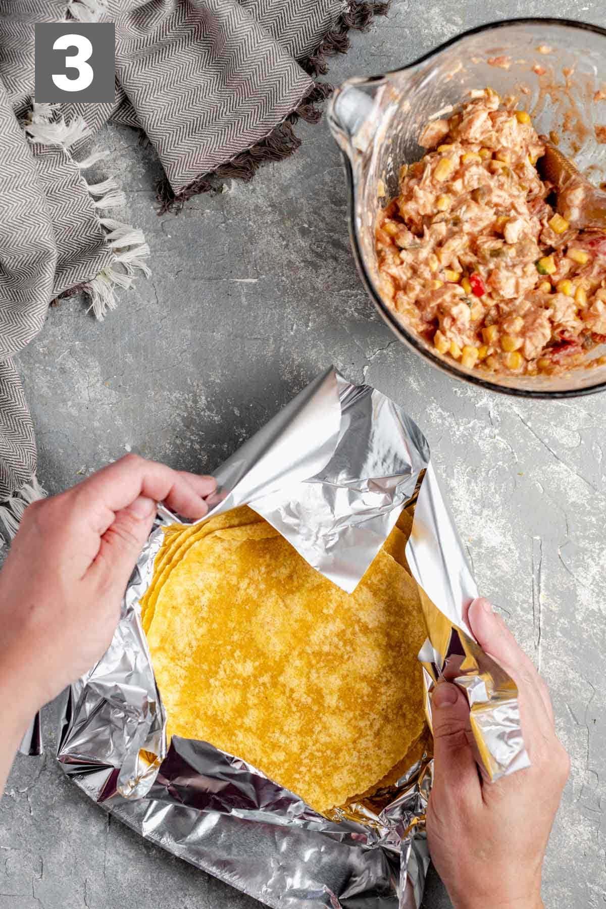 wrap the tortillas in foil