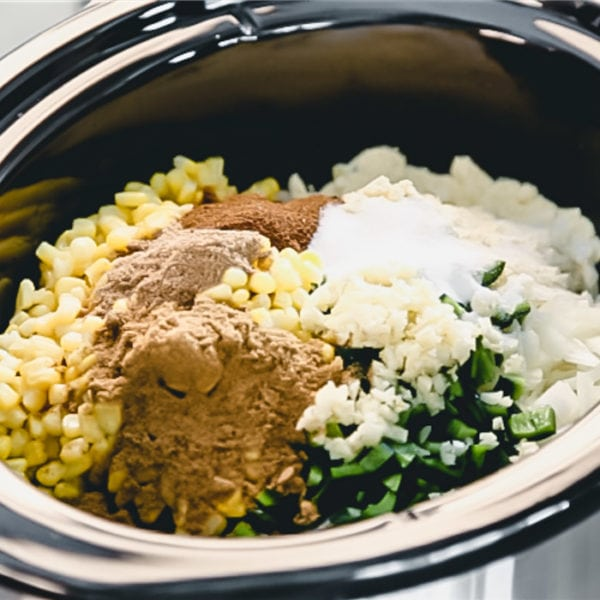 Crockpot with vegetables and spices from the side