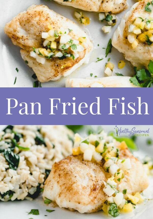 Two pictures of pan fried fish with text overlay