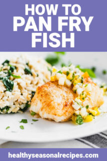pan fired fish on a white plate with text overlay