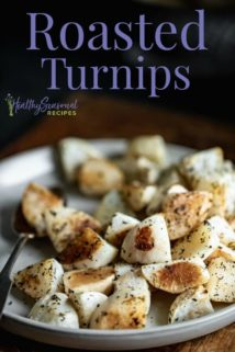 a side view of roasted turnips
