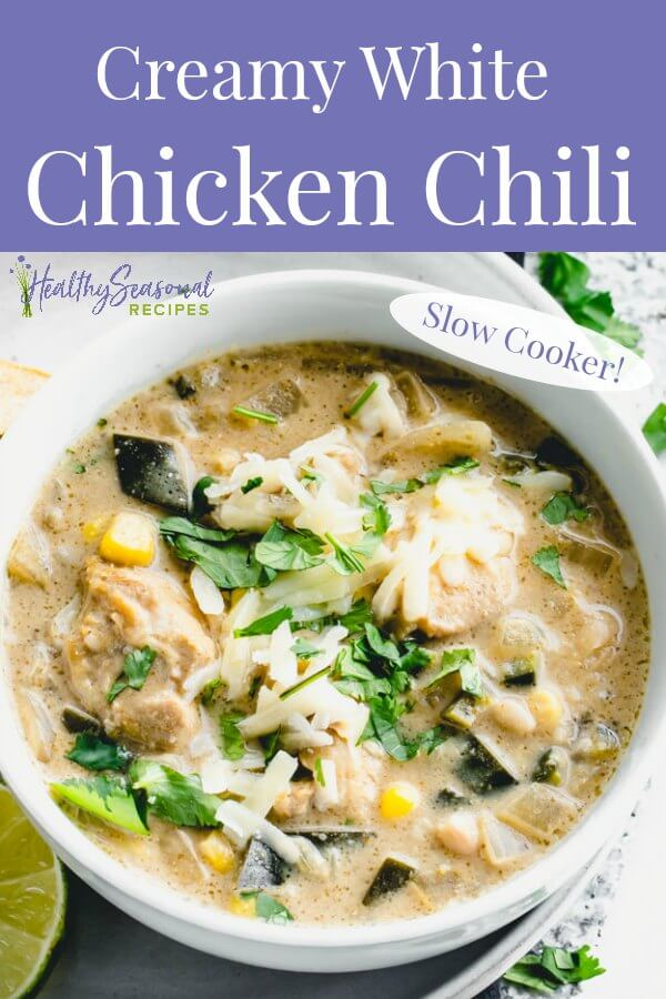 A bowl of white chicken chili with text overlay
