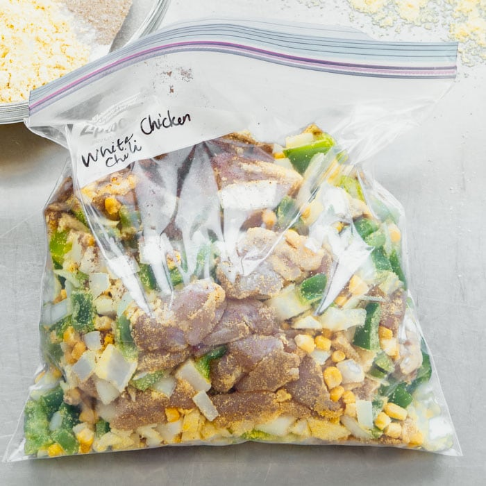 White Chicken Chili freezer kit in a gallon ziplock bag