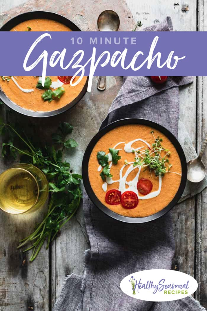 two bowls of gazpacho overhead with text overlay