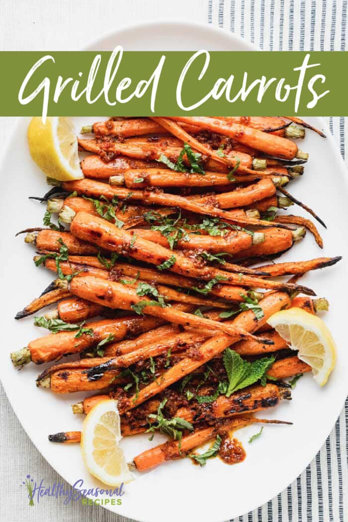 platter of grilled carrots with lemon and mint