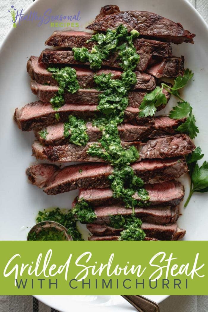 Overhead sliced sirloin steak with chimichurri
