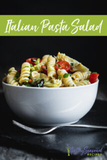italian pasta salad from the side with text