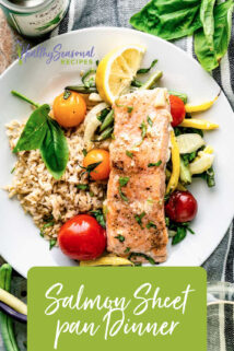 0verhead plate of salmon and veggies with text overlay