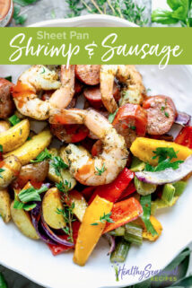 Shrimp and sausage overhead plated with text