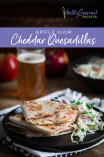 quesadilla on a plate with coleslaw