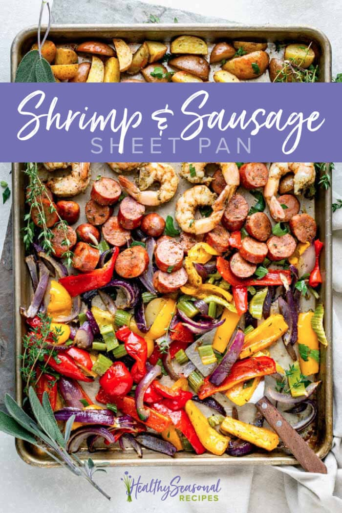 overhead of sausage and shrimp sheet pan with text