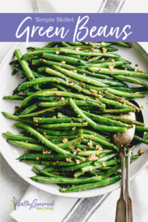 green beans on a plate overhead