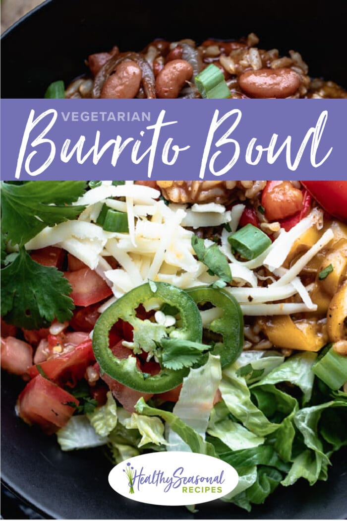 close up burrito bowl with text