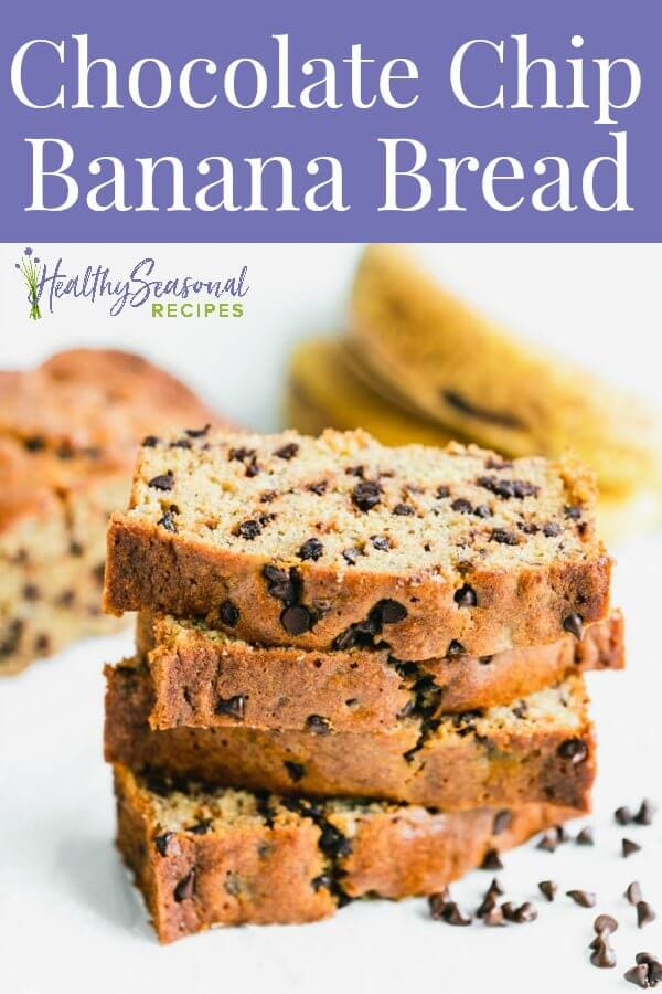 Chocolate chip banana bread slices stacked up.