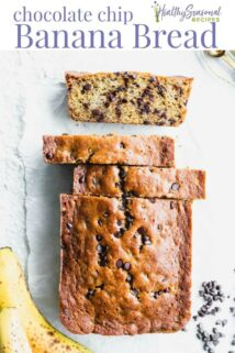 banana bread loaf and slices from overhead with text overlay