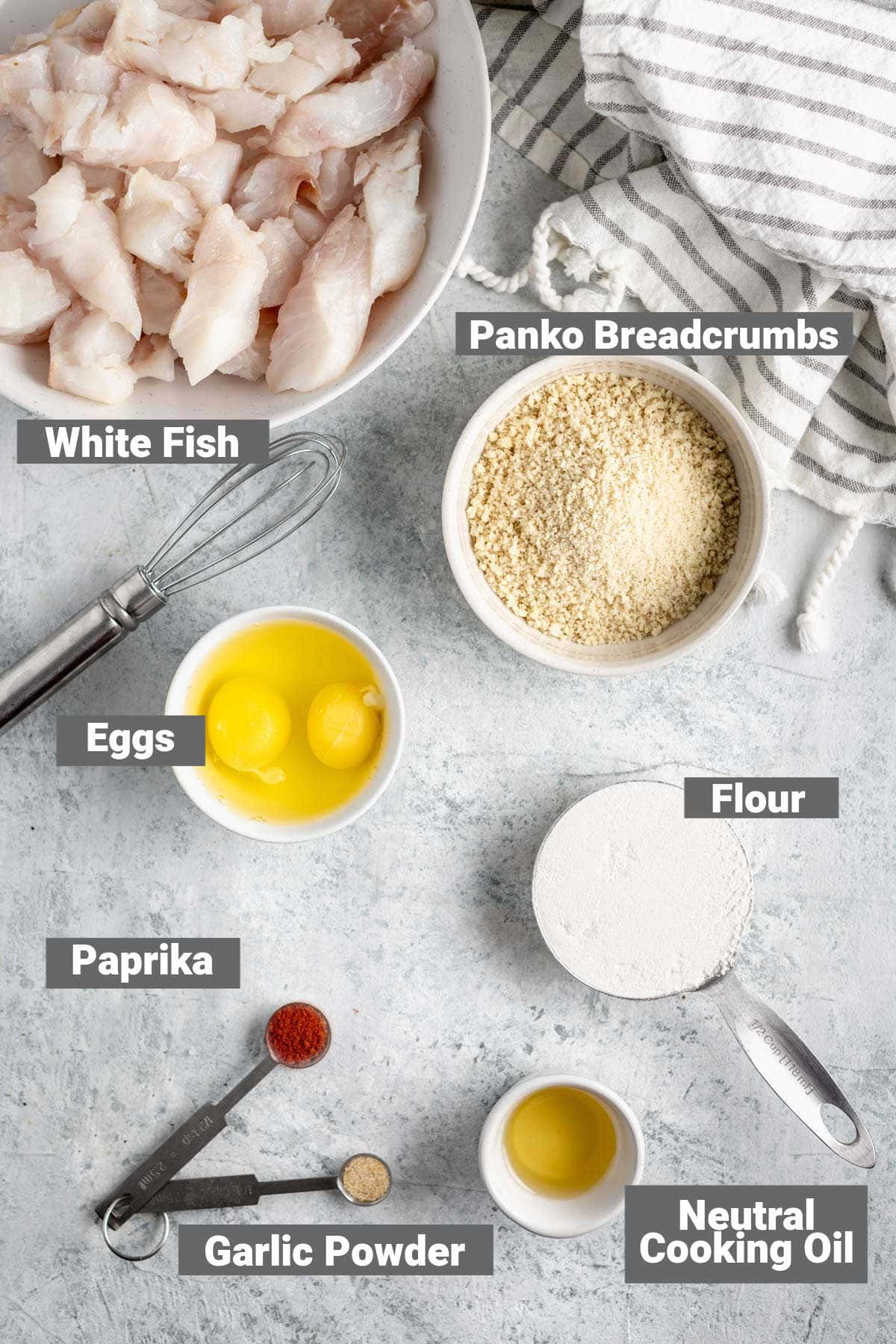 ingredients to make homemade fish sticks with text overlay
