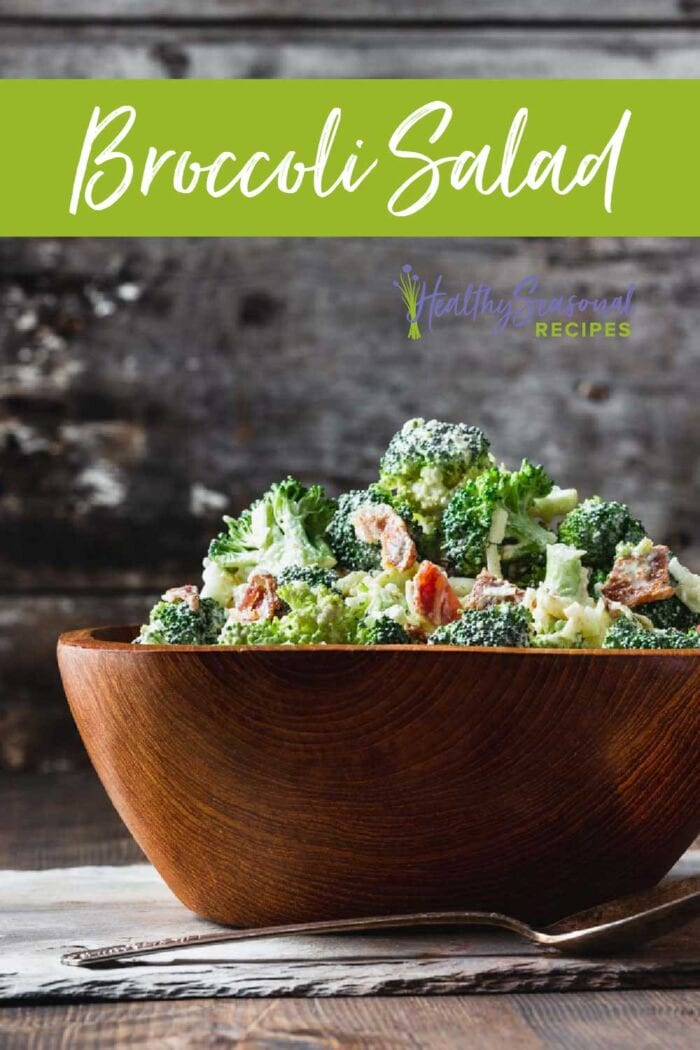 broccoli salad from the side with text overlay