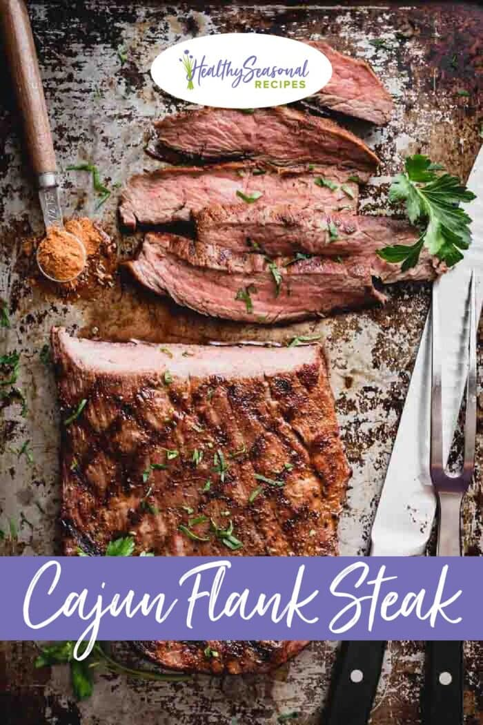 Flank steak overhead with text overlay