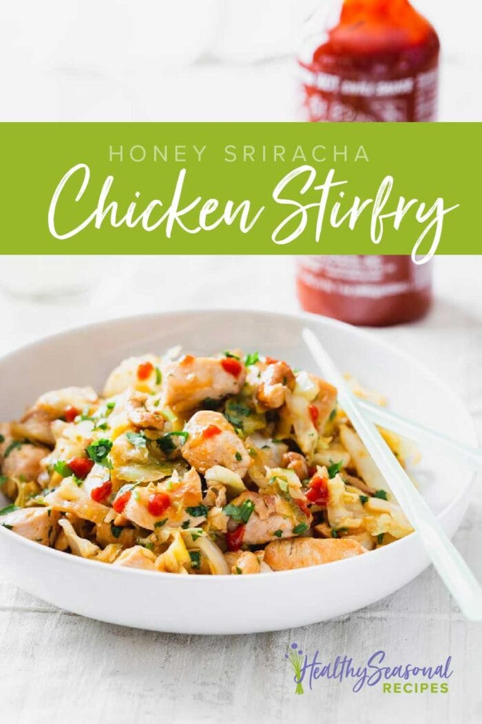 Chicken stirfry in a bowl with chopsticks