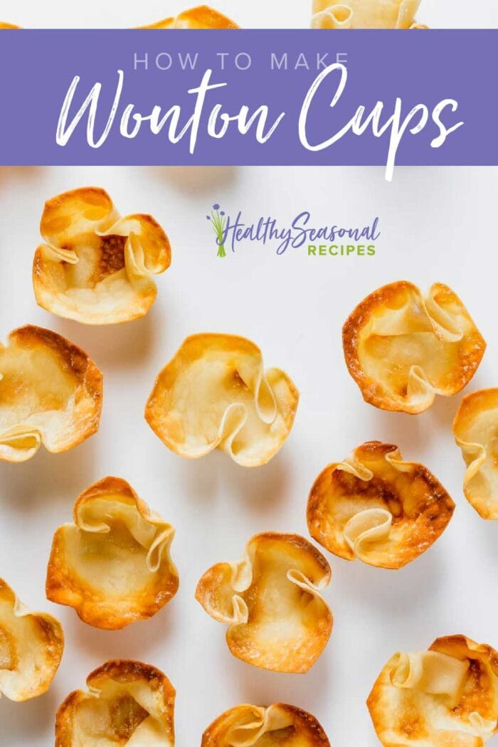 overhead of several wonton cups on a white background with a text overlay
