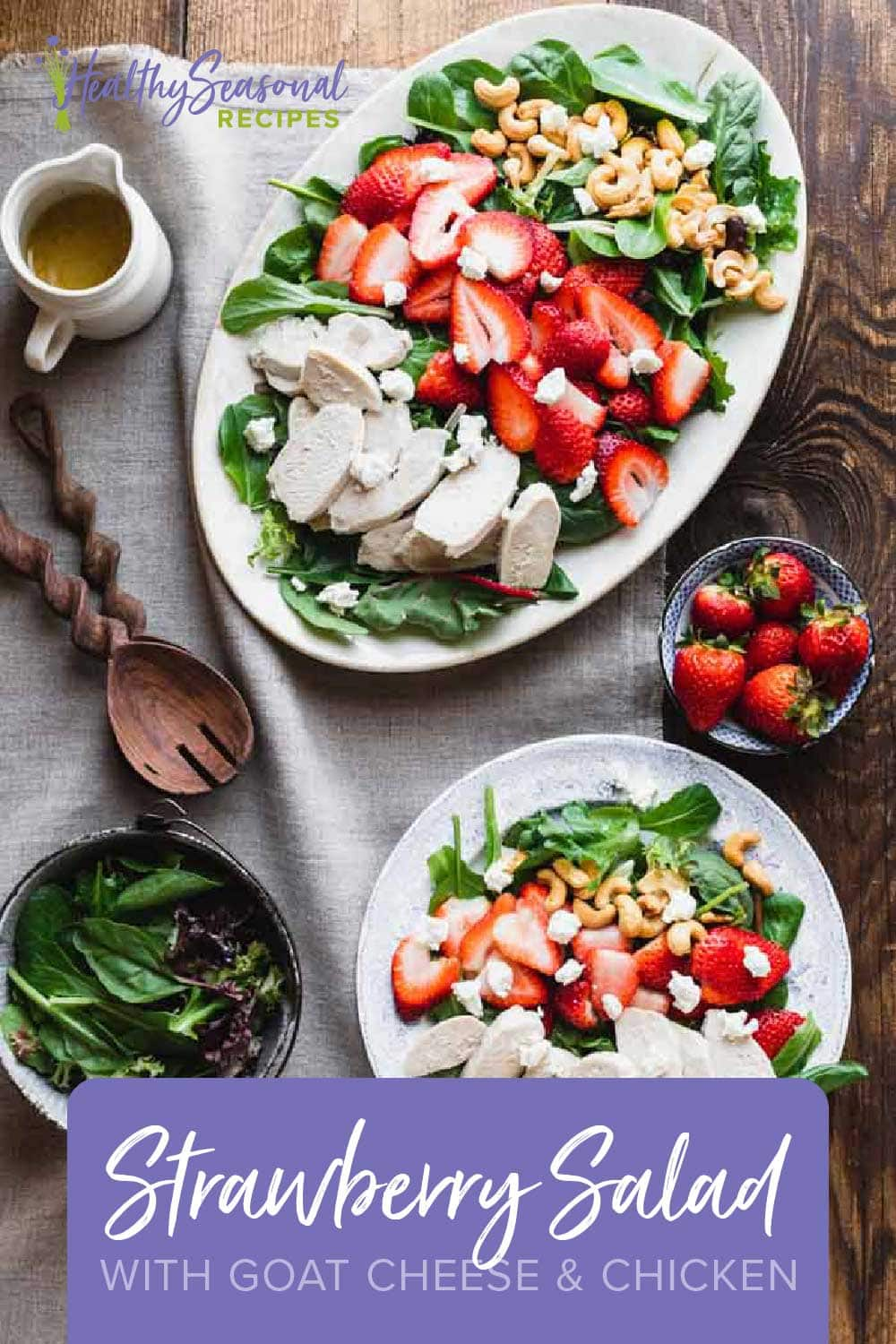 green salad with chicken, strawberries and goat cheese