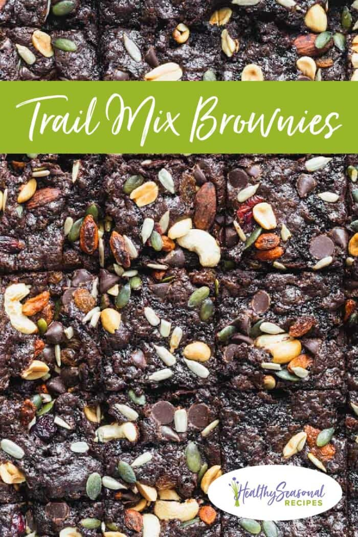 trail mix brownies up close with text overlay