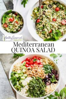Quinoa salad collage with text in the center
