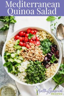 Composed overhead quinoa salad