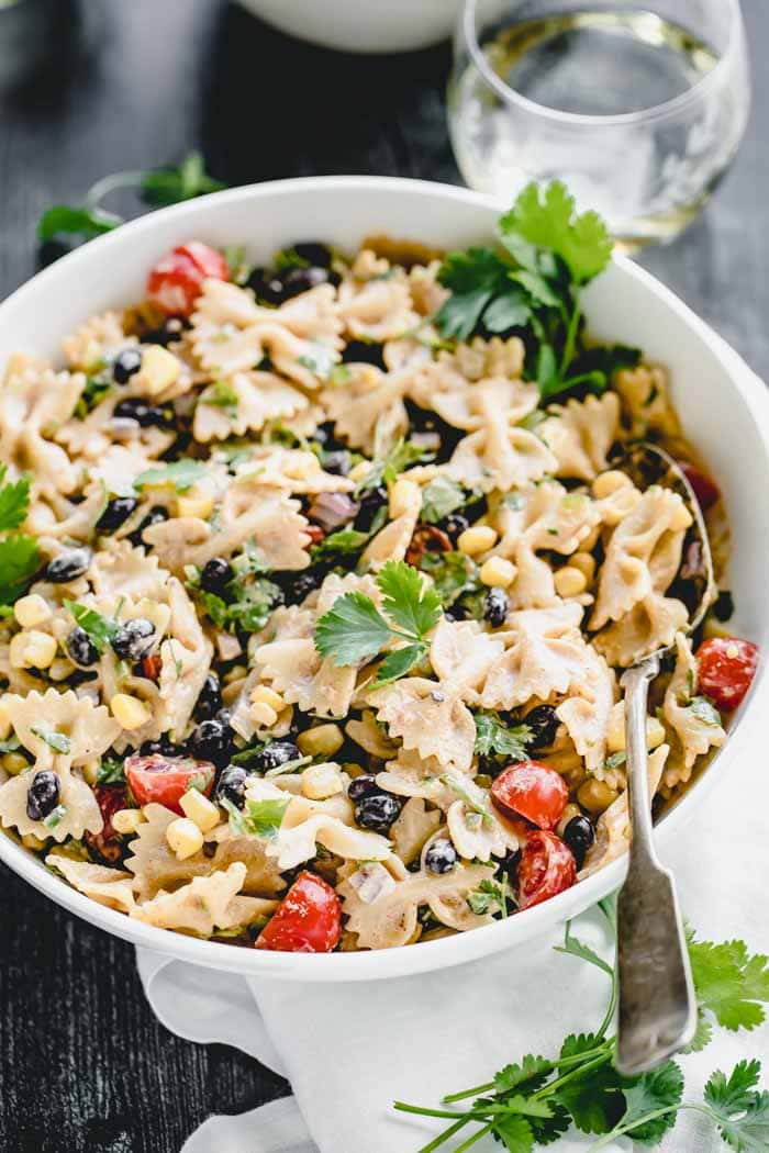 closeup of mexican pasta salad