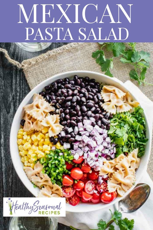 mexican pasta salad with text overlay